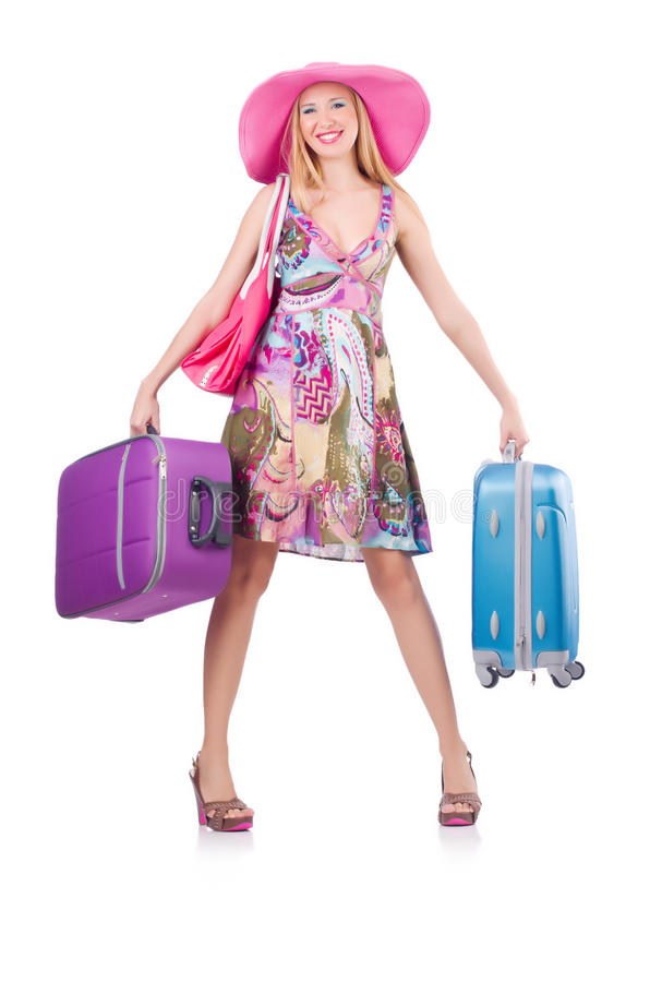 Download Girl with suitcases stock image. Image of summer, female - 35065239