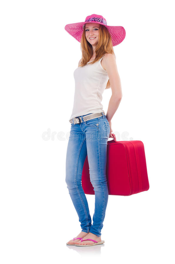 Download Girl with suitcases stock photo. Image of background - 36361996