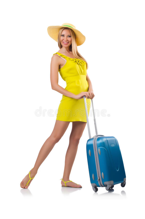 Download Girl with suitcases stock photo. Image of fashion, briefcase - 36623462