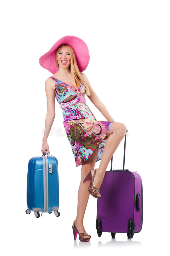 Download Girl with suitcases stock photo. Image of suitcase, fashion - 36964902