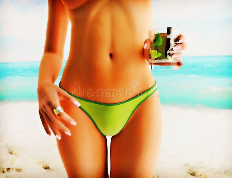 Girl on summer beach stock illustration