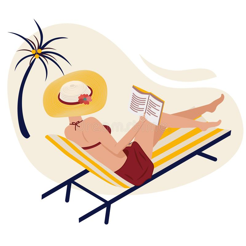 Girl in summer on the beach reads. A woman is lying in a striped chaise lounge in a fashionable striped hat. Remote stock illustration
