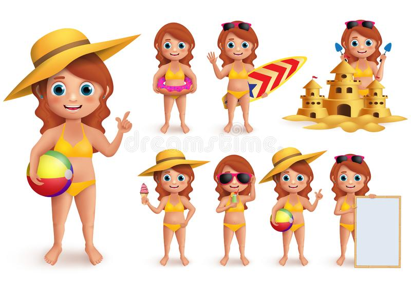 Girl summer kids vector character set. Young girl wearing bikini doing summer beach activities vector illustration