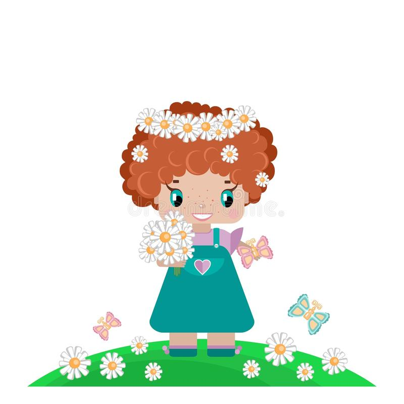 Girl on a summer lawn, with red curly hair, in a wreath of daisies. With a bouquet, butterflies in a green meadow royalty free illustration