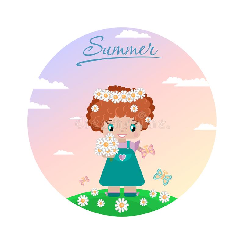 Girl on a summer lawn, with red curly hair, in a wreath of daisies. With a bouquet, butterflies in a green meadow against a sky with clouds. circle image royalty free illustration