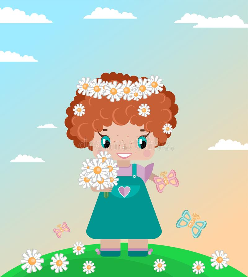 Girl on a summer lawn, with red curly hair, in a wreath of daisies. With a bouquet, butterflies in a green meadow against a sky with clouds vector illustration