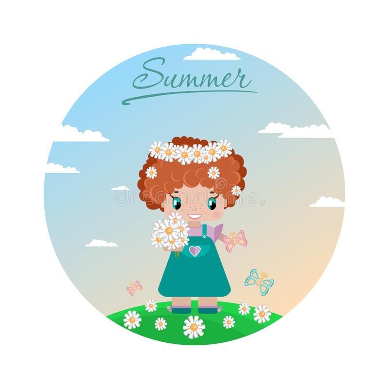 Girl on a summer lawn, with red curly hair, in a wreath of daisies. With a bouquet, butterflies in a green meadow against a sky with clouds. circle image stock illustration