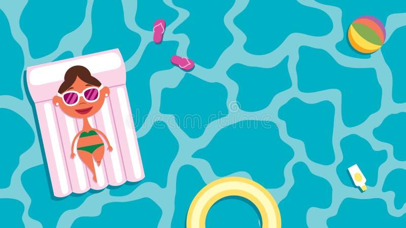 Girl on Summer Vacation Tanning on Pool Raft vector illustration