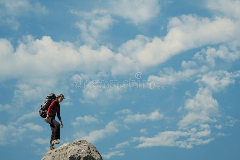 Girl on the summit stock photos