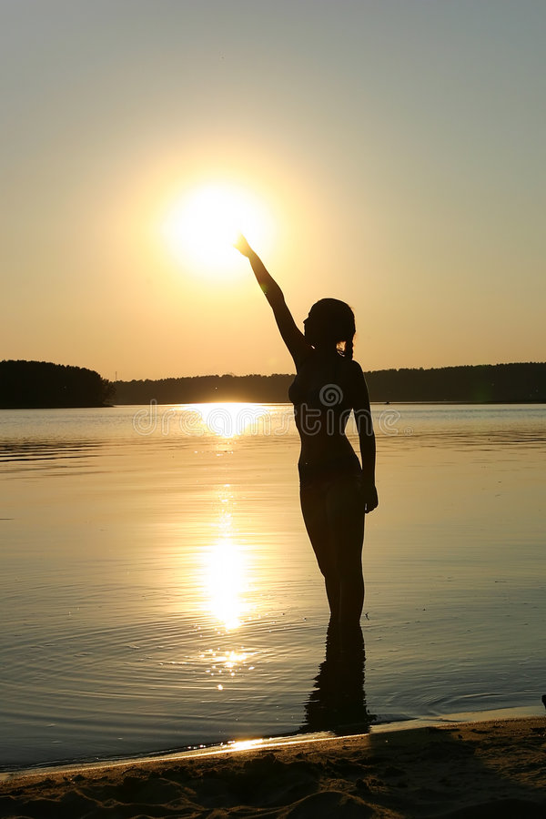 Girl and sun royalty free stock images