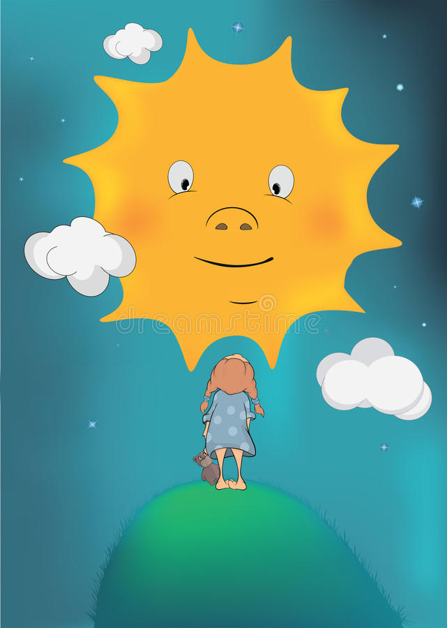 Download The girl and the sun stock vector. Illustration of happiness - 27315511