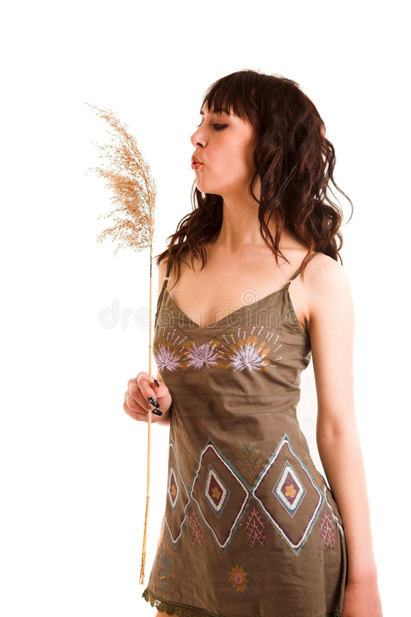 Girl in sun-dress royalty free stock photo
