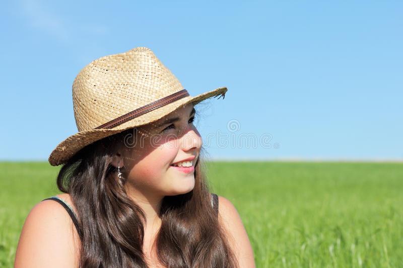 Girl with sun hat stock images