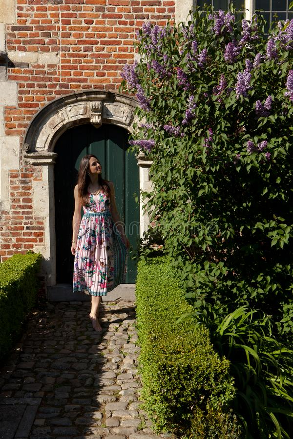 Girl sun lilac syringa wall door, Groot Begijnhof, Leuven, Belgium. Girl in colorful summer dress looking at lilac or syringa flowers on the coble stone in front stock images