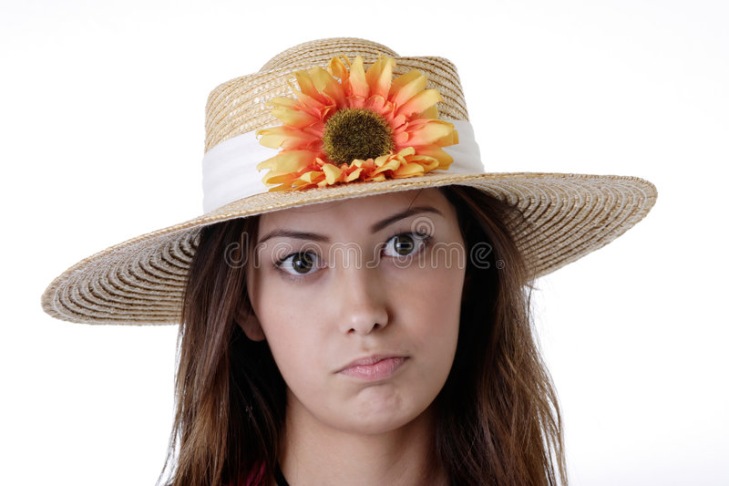 Girl in a sunflower hat stock image