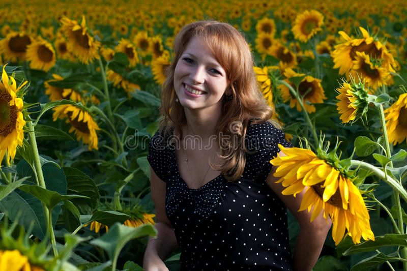Download Girl in sunflowers stock image. Image of caucasian, attractive - 11019423