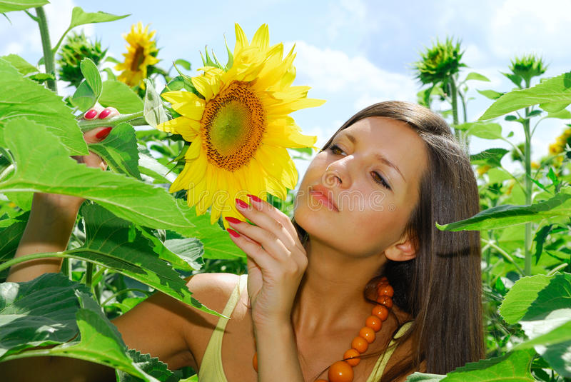 Girl in sunflowers. Pretty girl in sunflowers. Sunny summer day royalty free stock photo
