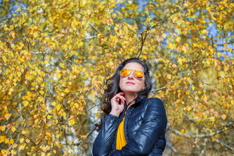 Girl with sunglasses in autumn stock images
