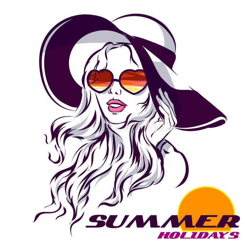 Girl in Sunglasses beach style and summer logo. Beach Hat and sunglasses love shape. on white sketch illustration with summer holidays logo vector illustration