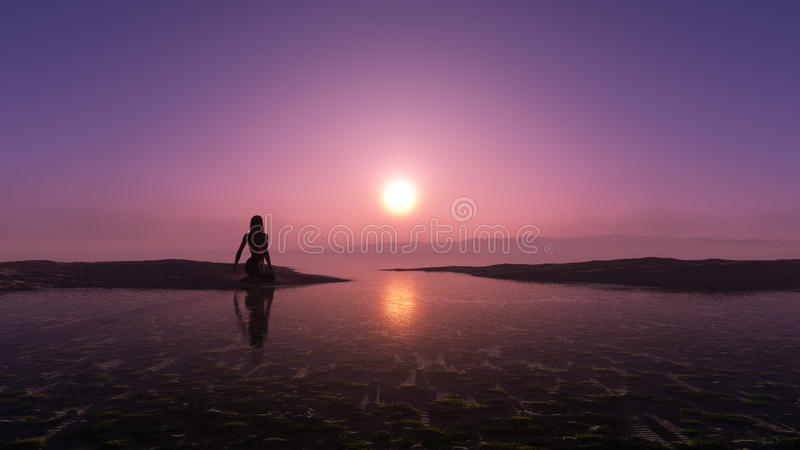 Girl In The Sunset royalty free stock images