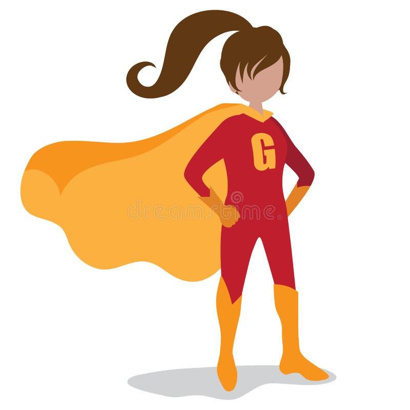 Girl super hero burst background. EPS 10 vector royalty free illustration