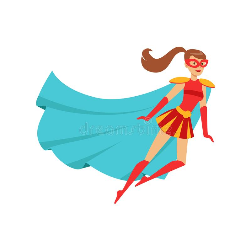 Girl superhero flying in red costume with blue cape. Female superhero in classic comics costume with blue cape, red skirt and mask. Smiling flat cartoon vector illustration