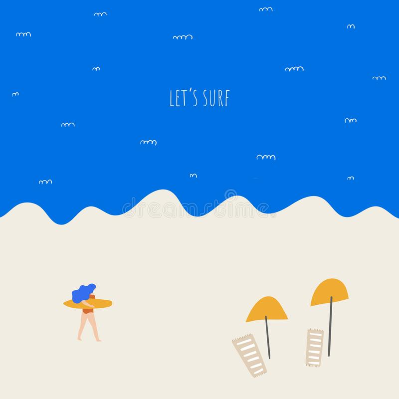 Girl with surf board. Cute hand drawn doodle illustration with woman, surf, sea, beach, umbrellas, sand. stock illustration