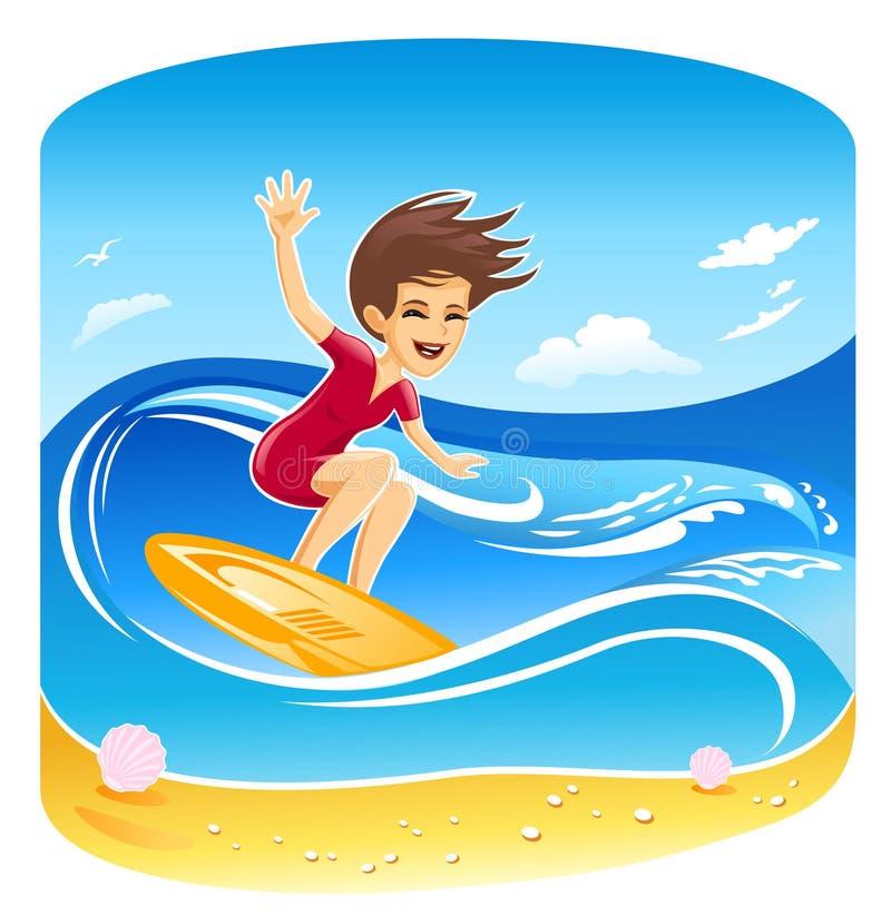 Girl Surfer Vector