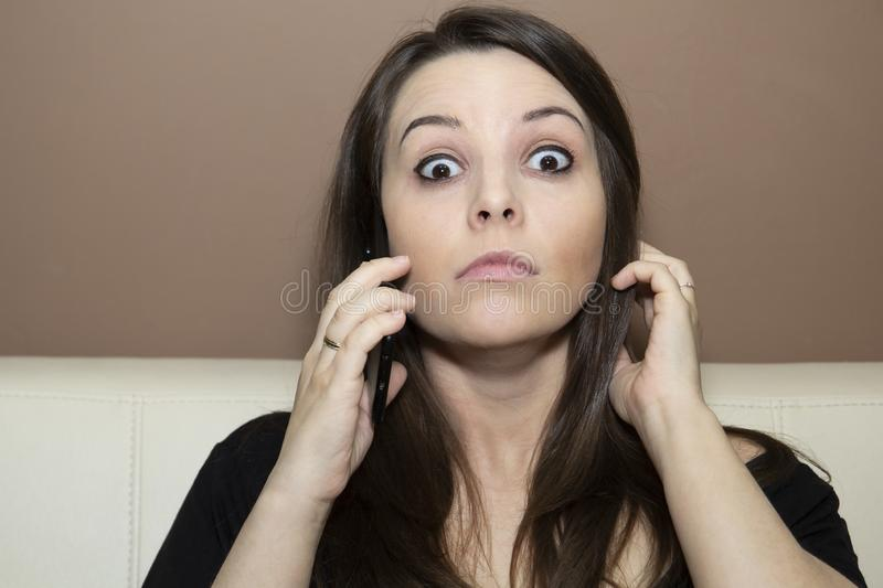 Girl with surprise on the face. stock photo