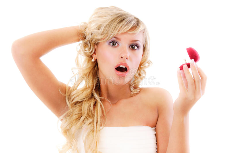 Download Girl With Surprise Looks At Box Stock Photo - Image: 14434206
