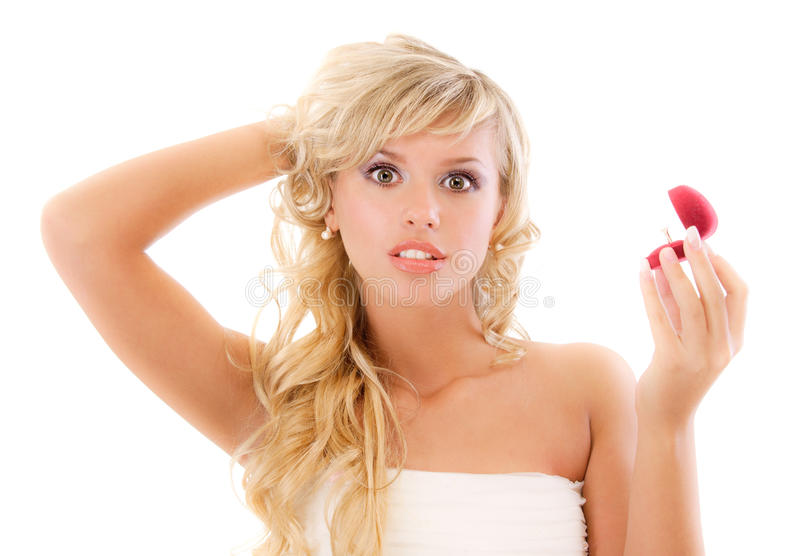 Download Girl With Surprise Looks At Box Stock Image - Image: 15484459