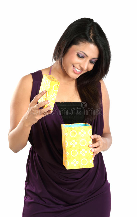 Download Girl With Surprise Seeing Her Gift Box Stock Photo - Image of happy, cheerful: 13679780