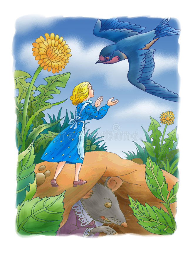 The girl and swallow. The girl runs towards to a flying swallow stock illustration