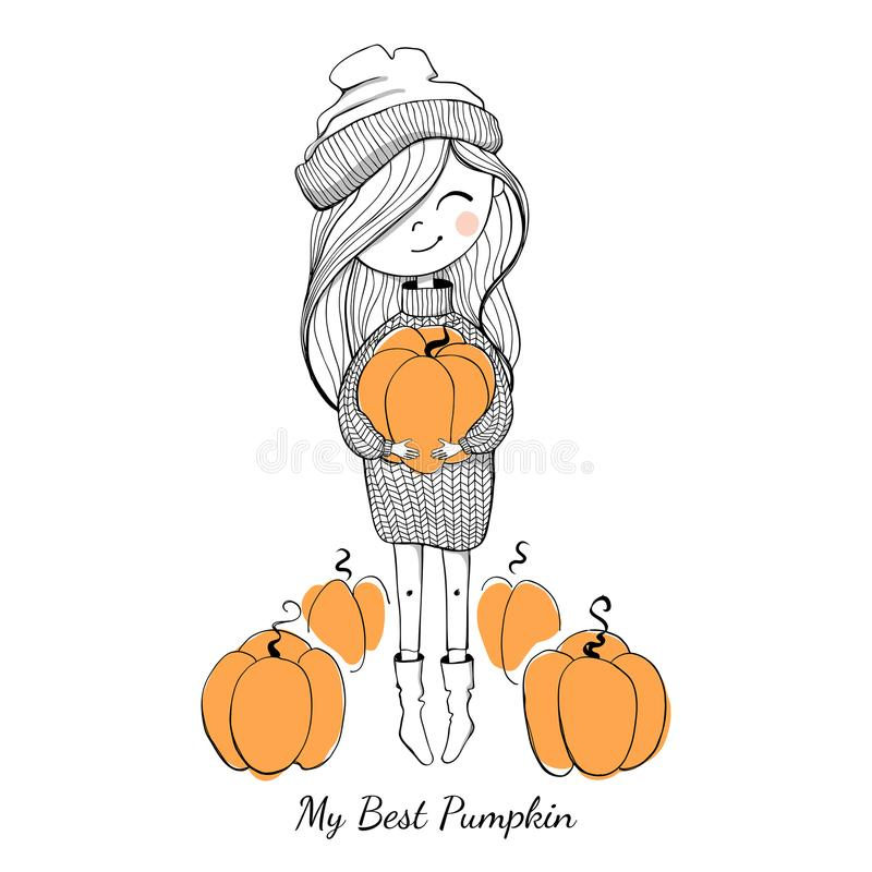 Girl in a sweater with pumpkin royalty free illustration