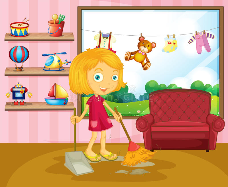 A girl sweeping inside the house royalty free illustration