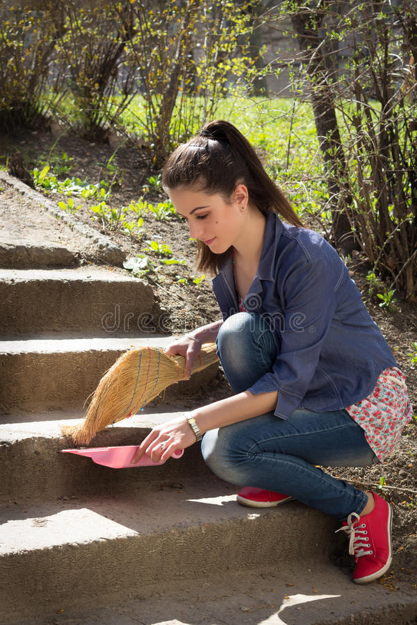 Download Girl sweeps steps stock photo. Image of outdoors, girl - 30484022