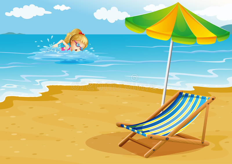 A Girl Swimming At The Beach With A Chair And An Umbrella At The Stock Images