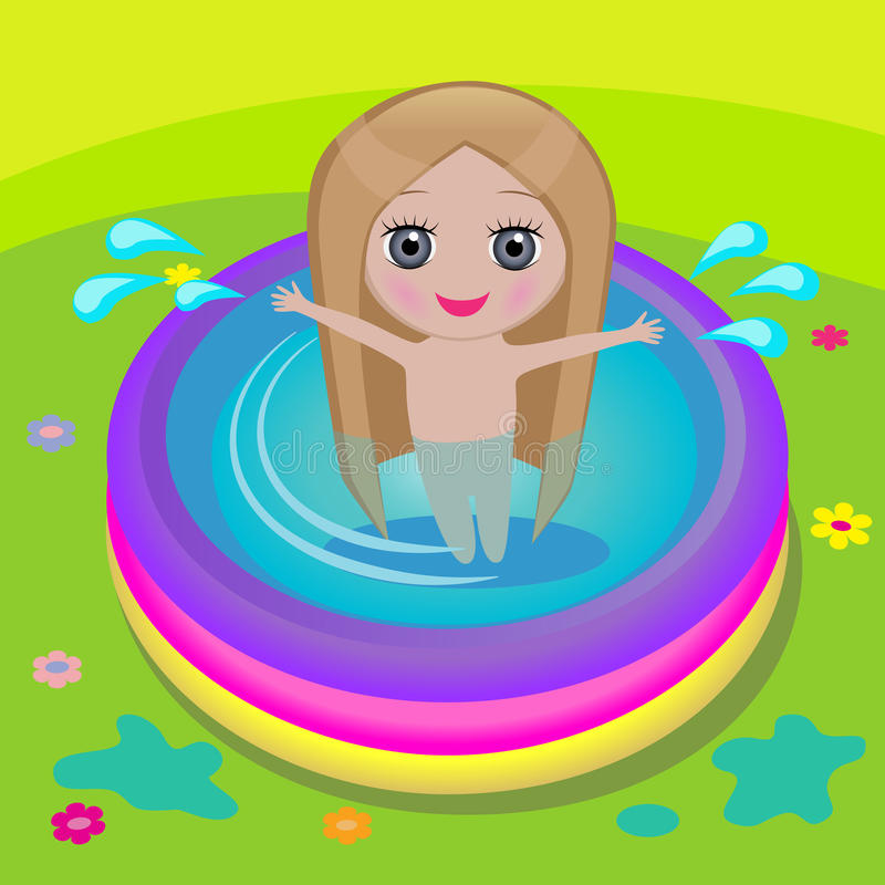 Download Girl in swimming pool stock vector. Image of cheerful - 25979078