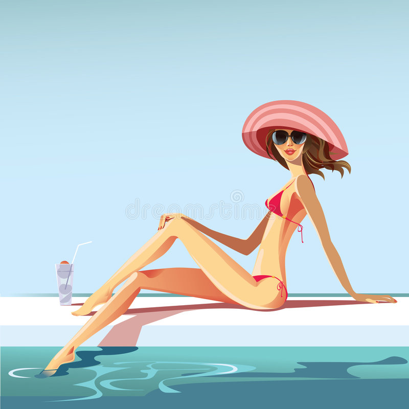 Download Girl at swimming pool stock vector. Illustration of looking - 9203924
