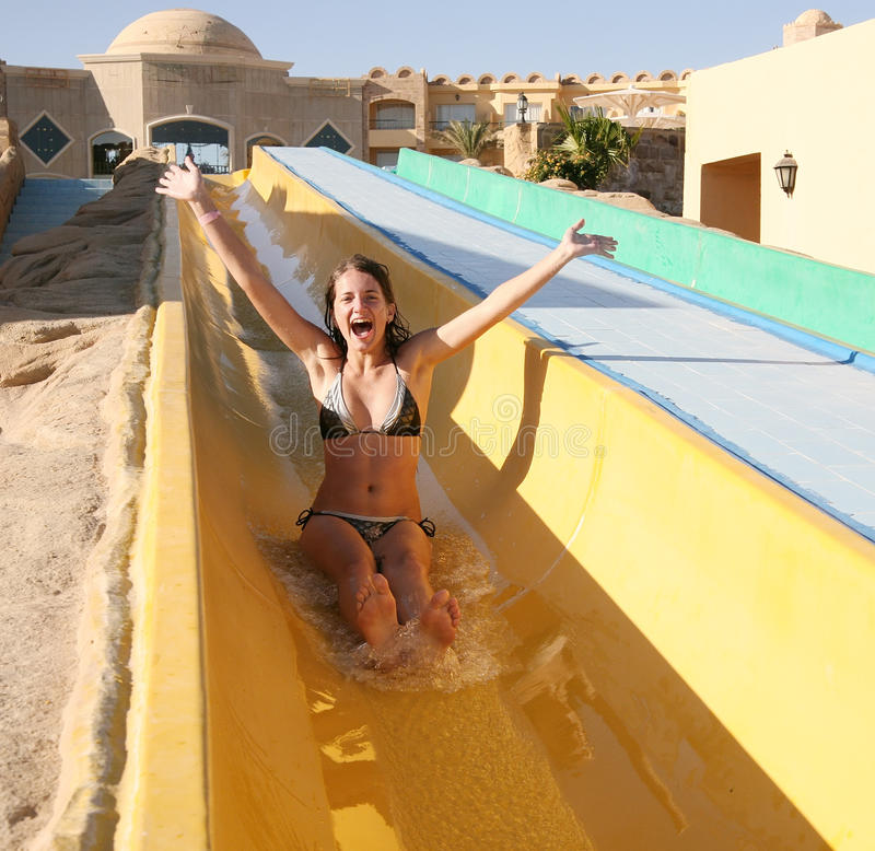 Girl In Swimming Pool Water Slide Stock Image Image Of Person Recreational 12547909