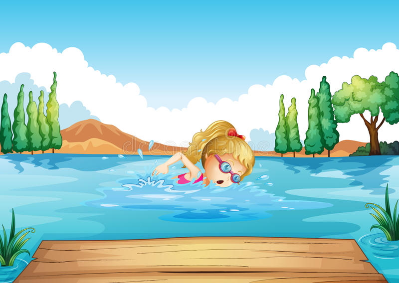 Download A Girl Swimming In The River Stock Vector - Image: 32733730