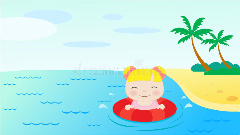 Download Girl swimming in the sea stock vector. Illustration of happy - 13602053