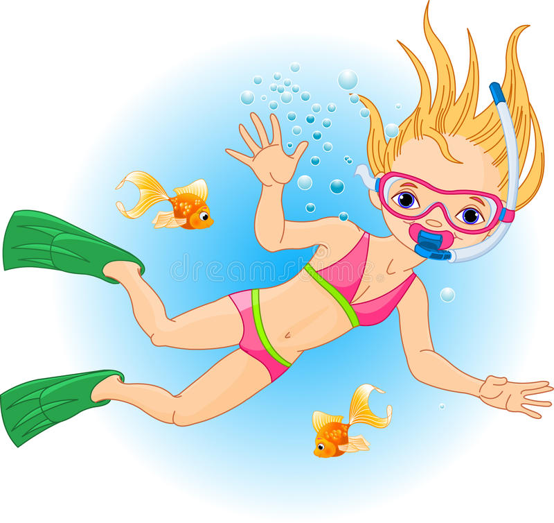 Girl swimming under water vector illustration