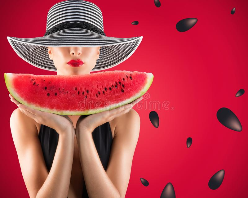 Girl in swimsuit with watermelon in hand and red background with seeds stock photos