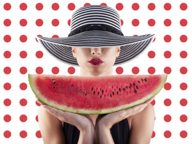 Girl in swimsuit with watermelon in hand and red circle background stock images