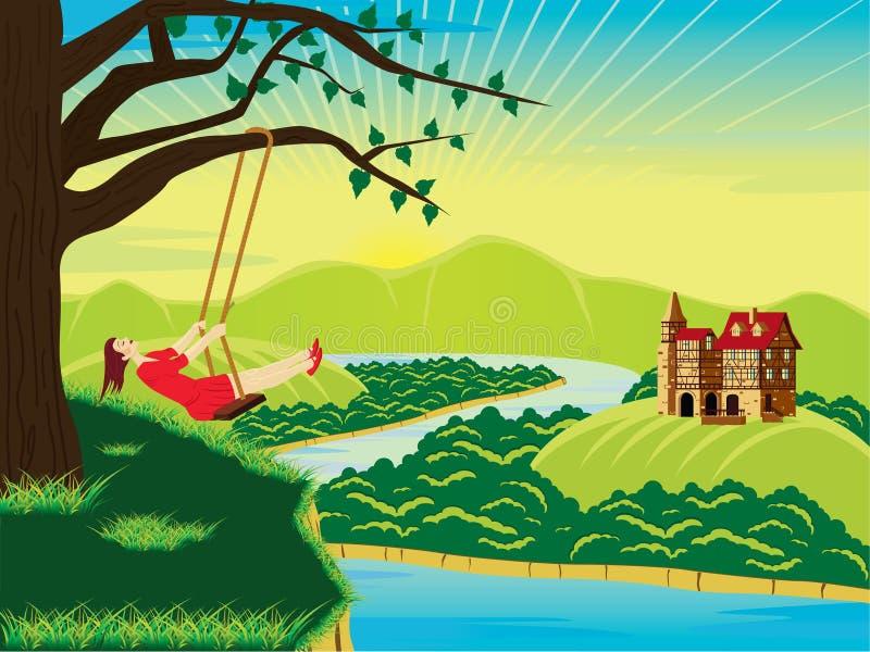 Girl on swing royalty free illustration