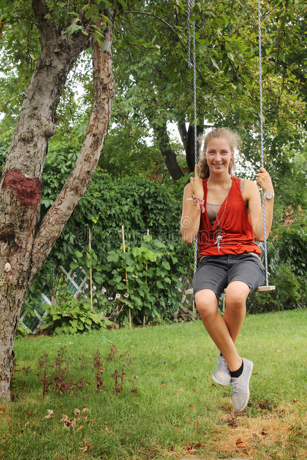 Girl On Swing Stock Photos