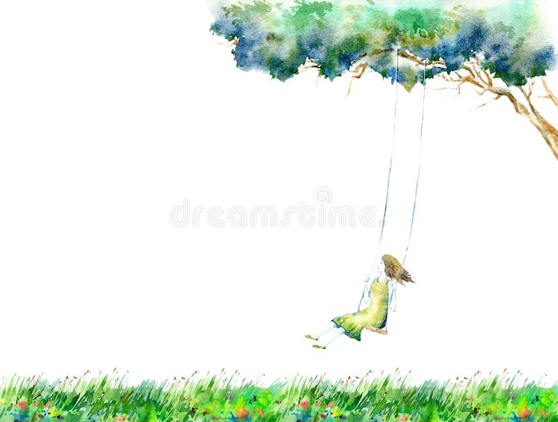 Girl on swing in the flower field.Greeting card.Rural landscape with tree. stock photography