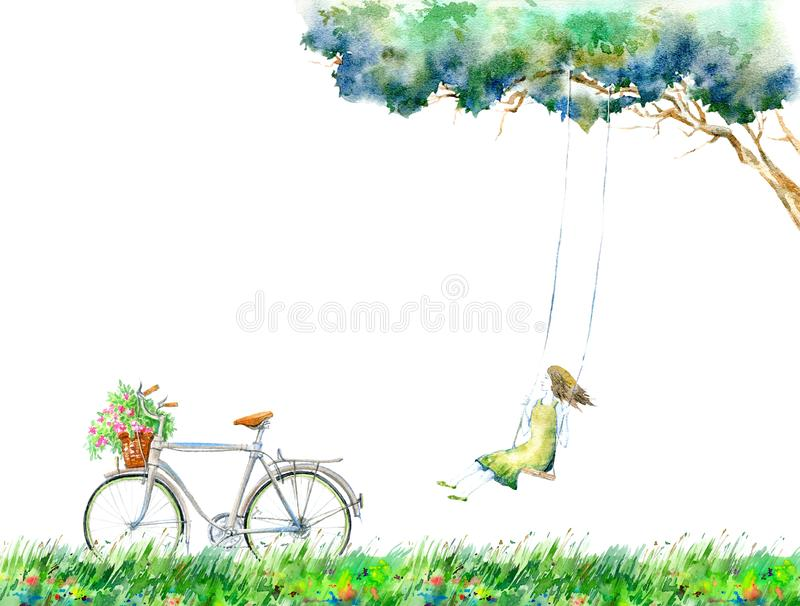 Girl on swing in the flower field.Rural landscape with tree and bicycle. royalty free stock photo