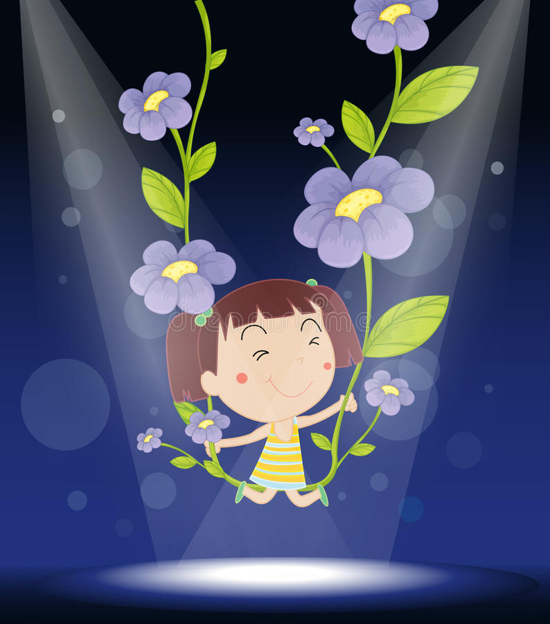 Download Girl on a swing stock vector. Image of blur, child, adorable - 33098195